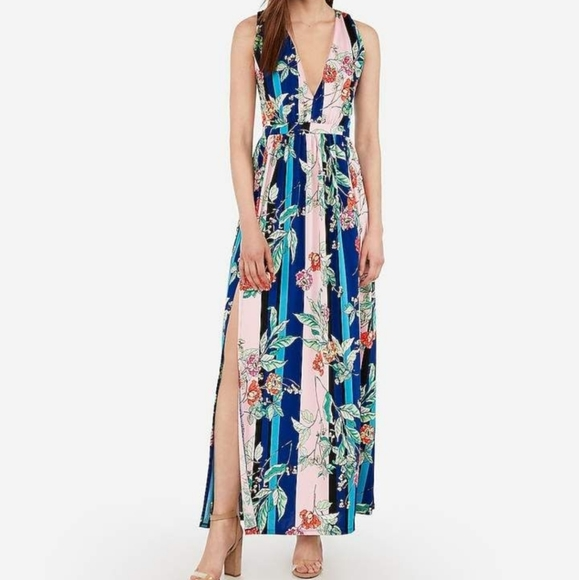 Express Floral Striped Maxi Dress